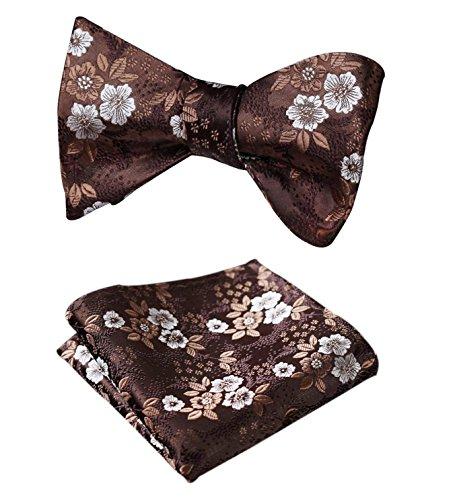 - HISDERN SetSense Men's Floral Jacquard Woven Self Bow Tie Set One Size Brown / Silver