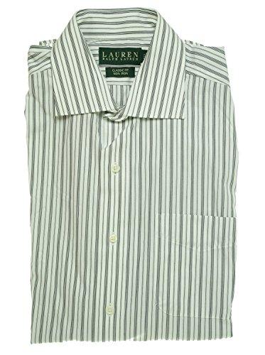 Striped Front Cotton Shirt Button - Lauren Ralph Lauren Striped Long Sleeve Shirt White/black 15 32/33