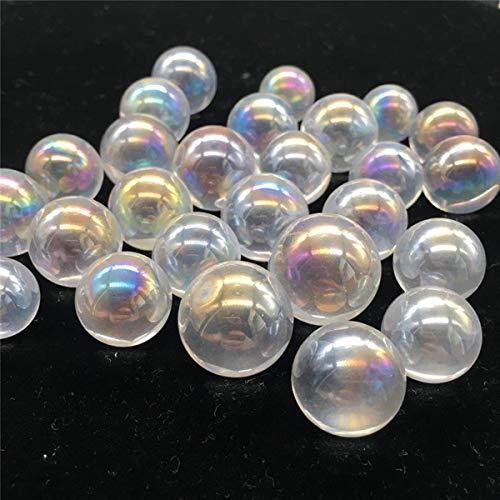 Queenbox 10 Pcs Natural Rainbow Crystal Ball Clear Quartz Sphere Aura Angel Chakra Electroplated Orb Minerals Healing Massage Gifts (Crystal Aura Chakra Healing Sphere)