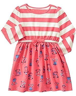 Baby Girls' Pink Mixed Print Knit Dress