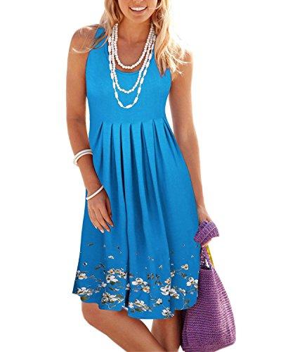 KILIG Summer Casual Loose Print Pleated Sleeveless Vest Dresses(Blue, XXL) ()