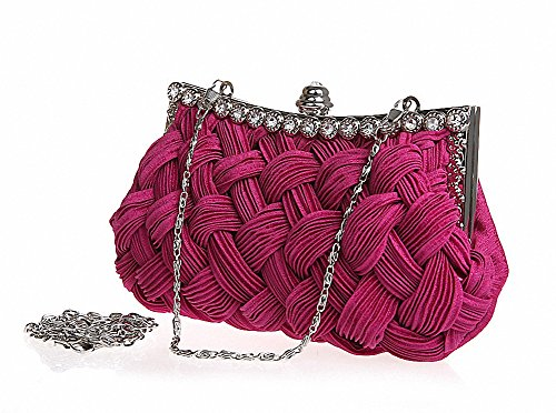 Afibi Womens Wedding Evening Bridal Bridesmaid Clutch Jeweled Pleated Cocktail Party Handbag (Fuchsia Pink)