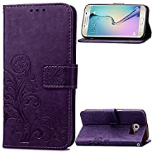 Samsung Galaxy S6 Edge Beautiful Case, Fashion four-leaf clover Printing Premium PU Leather Wallet Case with Wrist Strap Flip Case Cover for Samsung Galaxy S6 Edge Touch Screen Stylus Pen (purple)