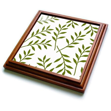 3dRose trv_164483_1 Olive Green and White Chic Leaves Trivet with Ceramic Tile, 8 by 8