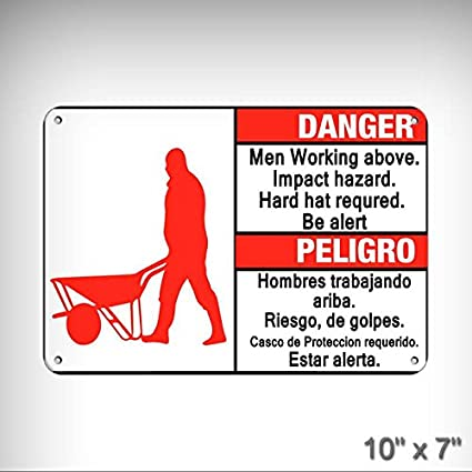 New Men Working Above Impact Hazard Required Hard Hat Be Alert Aluminum Metal Plate Gift Sign