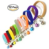 Puppy ID Bands Collars Adjustable & Reusable Double Side Soft Plush Dog Kittens ID Collar 12 Colors Velcro with Bells,Standard Size
