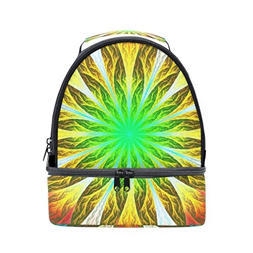 (GIOVANIOR Green And Yellow Fractal Flower Lunch Bag Insulated Lunch Box Picnic Bag School Cooler Bag for Men Women Kids)