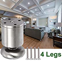 4x Cabinet Stainless Steel Legs Kitchen Feet Worktop TV Desk Table Legs Furniture Sofa Legs - Rubber Mat - Safe & Silent 50 x 80mm