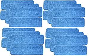 "Turkey Creek Essentials 24 Microfiber Mop Pads 18 Inch Washable Commercial Quality, Replacement Refills for Hook and Loop Flat Mops - Use Wet or Dry, 18"" L X 5.5"" W, 24Pk"