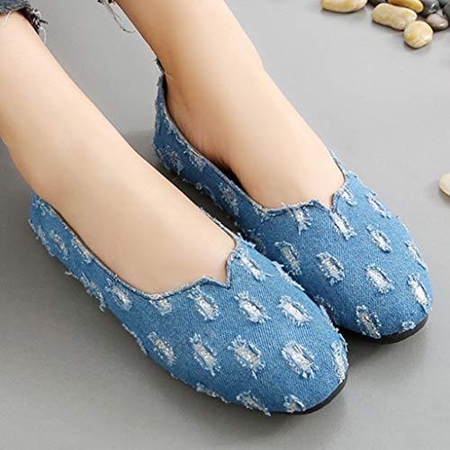 Blando Fondo Baja Lzw De Antideslizante Respirable Planos Boca Puntiagudo Zapatos Punto Mezclilla Blue Mujer 5BdnTqn4g