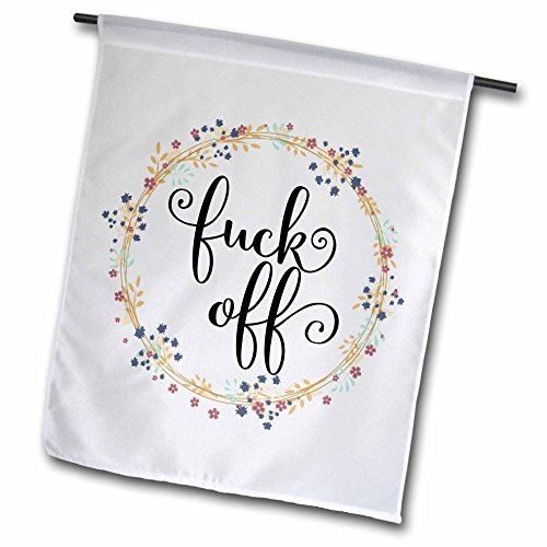 "3dRose fl_264043_1"" Floral Wreath with Funny Quote-Fuck Garden Flag, 12"" x 18"" from 3dRose"