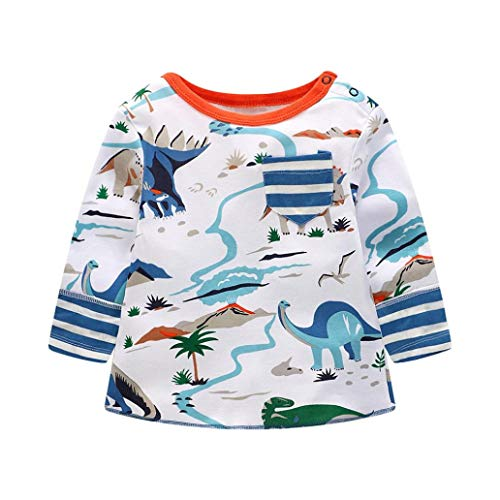 Todaies Toddler Children Cotton Cartoon Tops Boys Letter Print T-Shirt Outfits Clothes 2018 (5T, White) -