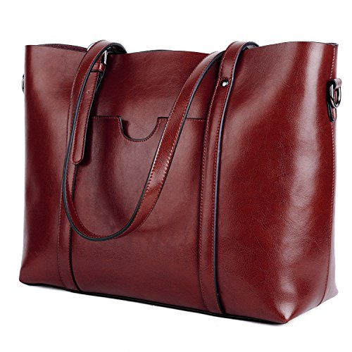 YALUXE Women's Vintage Style Soft Leather Work Tote Large Shoulder Bag Wine Red (Leather Retro Tote)