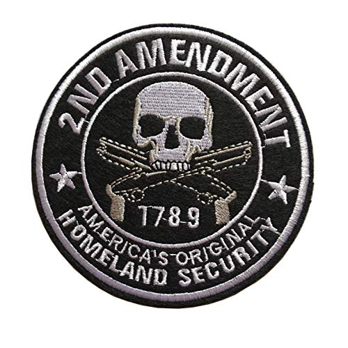 Homeland Security 2nd Amendment Skull W Pistol Guns 1789 Embroidered Fastener Hook and Loop Patch (B-Iron/Sew on Skull)