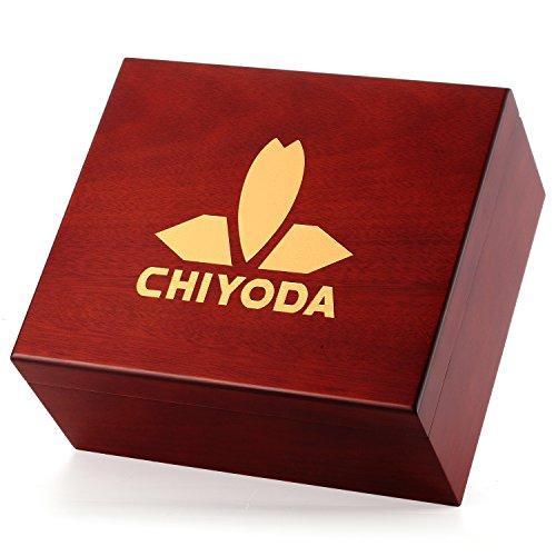CHIYODA [100% Handmade] Spanish Cedar Thick Wood Humidor Case Cigar Storage Box by CHIYODA