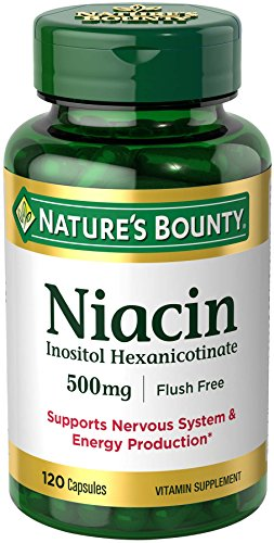 Nature's Bounty Niacin Flush Free Pills and Supplement, Supports Nervous System and Energy Production, 500mg, 120 Capsules