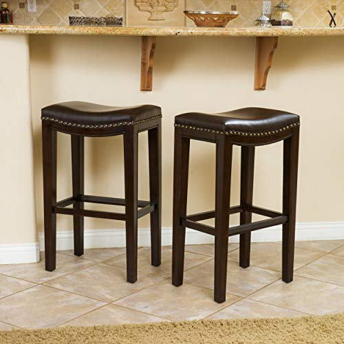 Christopher Knight Home 295611 Jaeden Backless Faux Leather Bar Stools with Brass Nailhead Studs, Set of 2