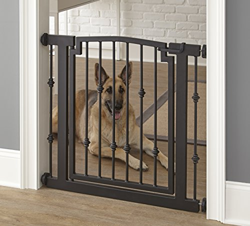 Emperor Rings Dog Gate – Black – Expandable To 56″ – Indoor Pet Barrier, Walk Through Swinging Door, Extra Wide, Pressure Mounted, Small, Large Dogs, Metal, Best Dog Gate – NMN Designs