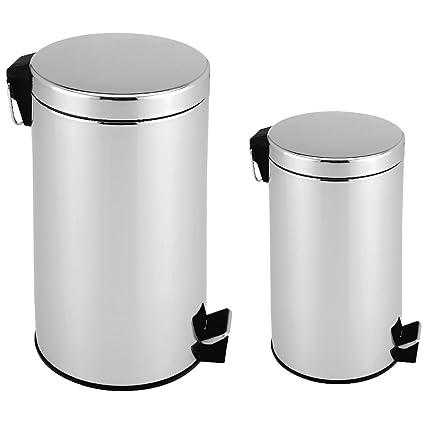 2 x Cubo de basura Acero inoxidable Cubo de basura Cubo de ...