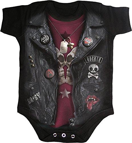 Direct Leather Vest - Spiral - Baby-Boys - Baby Biker - Baby Sleepsuit Black - S