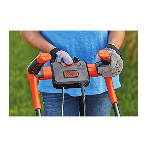 BLACK+DECKER Electric Lawn Mower, 10 -Amp, 15-Inch (BEMW472BH) 10 IMPROVED ERGONOMICS: Comfort grip handle makes the lawn mower easy to maneuver BETTER CLIPPING COLLECTION: Our winged blade achieves 30% better clipping collection NO MORE PULL CORDS: Push-button start makes starting the lawn mower a breeze