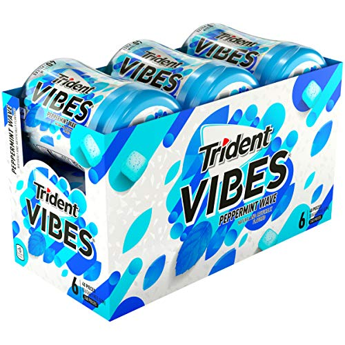 (Trident Vibes Peppermint Sugar Free Chewing Gum - 6 Bottles (240 Pieces Total))