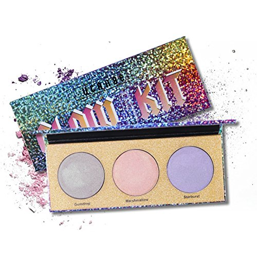 Highlighter Makeup Palette,HUBEE 3 Color Chameleon Crystal Sugar Highlighting Bronzer Glow Shimmer Eyeshadow Cosmetic