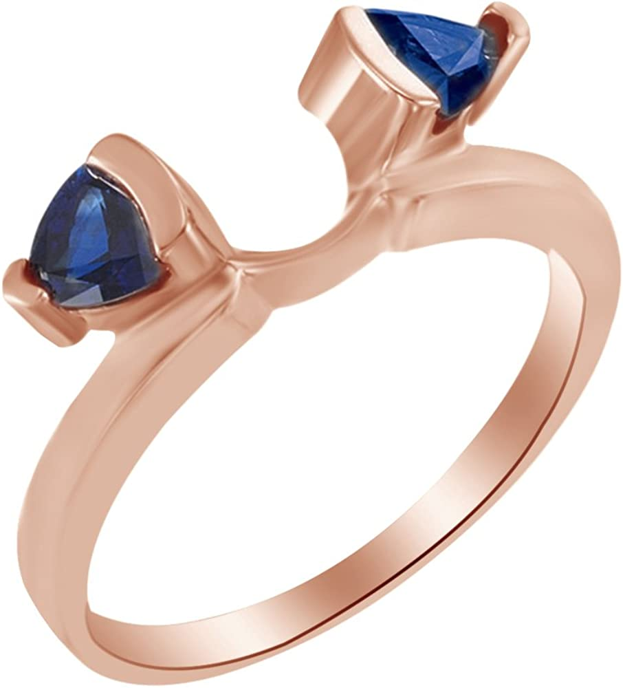 AFFY Triangle Shape Simulated Blue Sapphire Wrap Enhancer Guard Ring in 14k Solid Gold