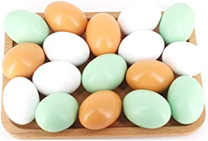Kaptin 9 Pack Wooden Fake Eggs,Easter Painting Eggs,Chicken Eggs Children Play Kitchen Game Food Toy for Kids,Faux Eggs Home Decor -3 Colors