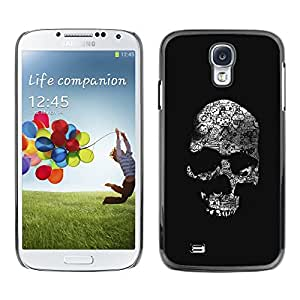 GOODTHINGS ( NO PARA S4 Mini ) Funda Imagen Diseño Carcasa Tapa Trasera Negro Cover Skin Case para Samsung Galaxy S4 I9500 - cráneo huesos negros muerte blanca de metal