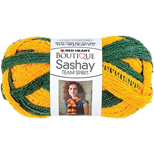 Coats Yarn Red Heart Boutique Sashay Team Spirit Yarn, Green/Gold