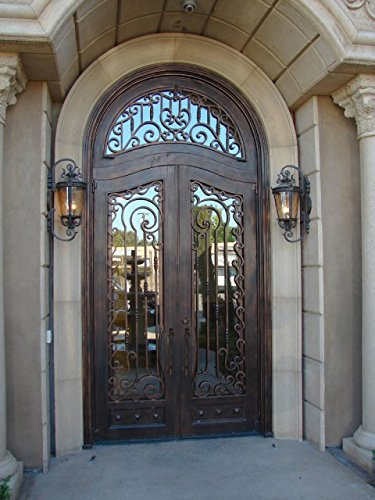 72 X 132 Wrought Iron Entry Doors With Transom And Glass