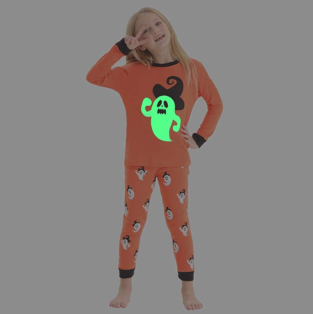 Cozy Feeling Toddler and Kids Glow-in-The-Dark Halloween Pajamas Set for Girls
