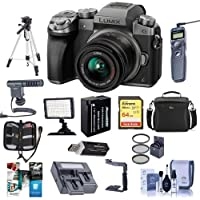 Panasonic Lumix DMC-G7 Mirrorless Micro 4/3s Camera with 14-42mm Lens, Silver - Bundle with Camera Case, 64GB SDXC U3 Card, Spare Battery, Tripod, Video Light, Shotgun Mic, Software Package and More