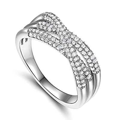 925 Sterling Silver Cubic Zirconia Criss Cross X Ring
