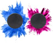 Gender Reveal Hockey Puck 2-Pack: Exploding Powder, Either Pink or Blue for Baby Reveal. 1 Blue and 1 Pink