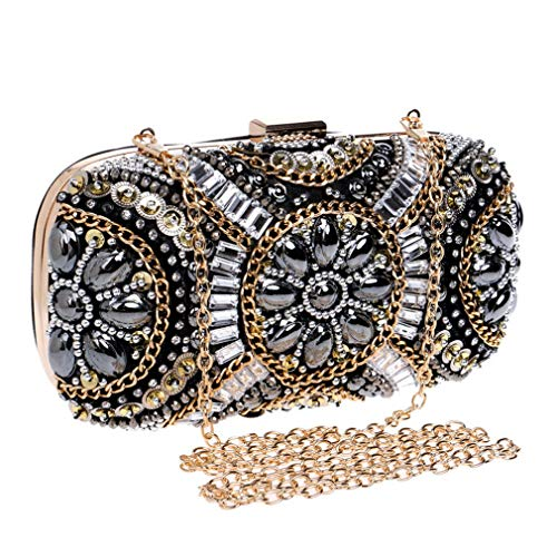 Bag Rhinestone Clutch YM1001black Small Wedding Women's Evening Beaded Bags Bags Beaded Bag Retro Diamond Crystal Shoulder ULKpiaoliang wWtYOq474
