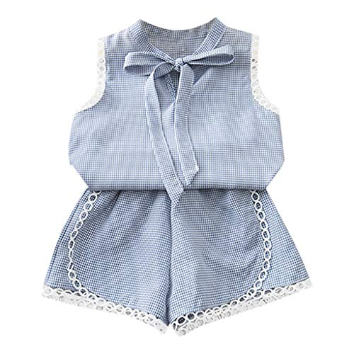 Tantisy ♣↭♣ Baby Girl Outfits18M-6T  Fashion Casual Kids Sleeveless Plaid Lace Bow Vest Tops T Shirt+Shorts Clothes Set Blue ()