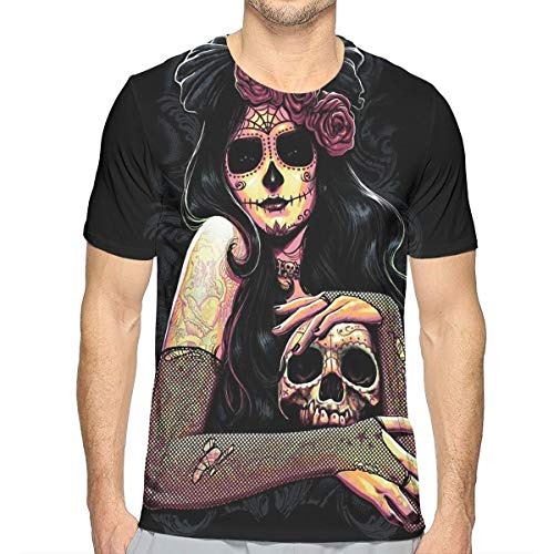Goods Shops Flower Skull Queen Men's Crew T-Shirt Soft Short Sleeve Summer Casual Short-Sleeve M -