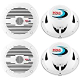 4) NEW BOSS MR50W 5.25 2-Way 300W Marine/Boat Coaxial Audio Speakers - White