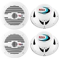 4) NEW BOSS MR50W 5.25 2-Way 300W Marine/Boat Coaxial Audio Speakers - White