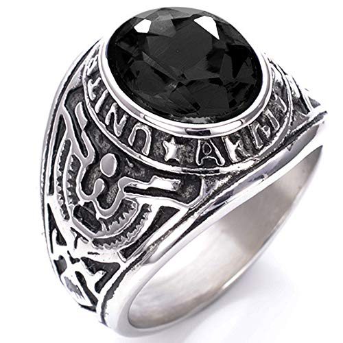 Jude Jewelers Stainless Steel United States Army Military Ring (Black, 11)
