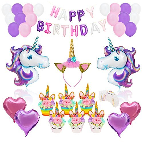 UNICORN PARTY SUPPLIES DECORATIONS- 12 guests Complete Set Cake Cupcake Toppers, Gold Headband, Helium Foil Balloons, Heart Balloons, Happy Birthday Banner, Gifts, Favors For Girl First 1st -