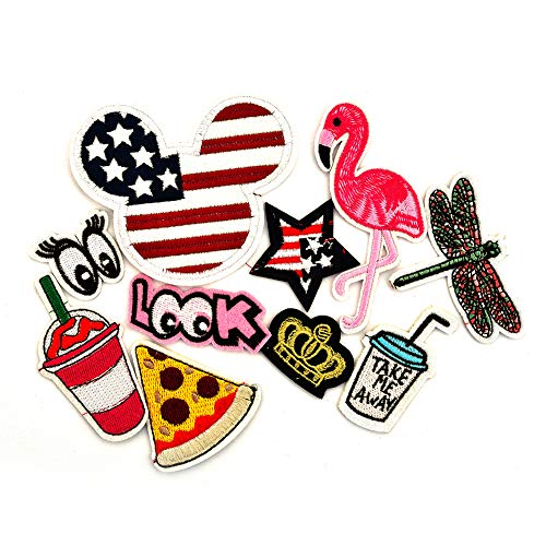 - Assorted Embroidered Patches Flamingo Applique Mickey Repair Patch Shirts Jeans Backpack Decor Patches