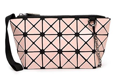 Kayers Sulliva Women's Fashion Hologram Geometric Plaid Wristlet Purse Clutch Wallet Shoulder Handbags(Baby Pink)