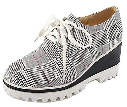 Décontracté Chaussure Femme Epaisse Carreaux Sneakers Easemax Compensée HzwfPUxR8q