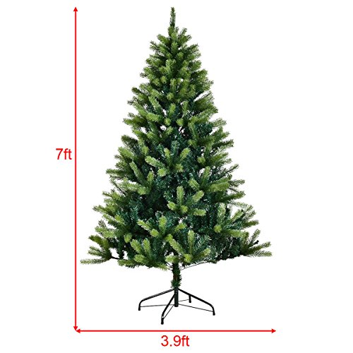 Amaethon 7FT Tree 7 Ft Artificial Christmas 1010 Tips Metal Legs Green Solid Full Stand Holiday Gift by Amaethon (Image #3)