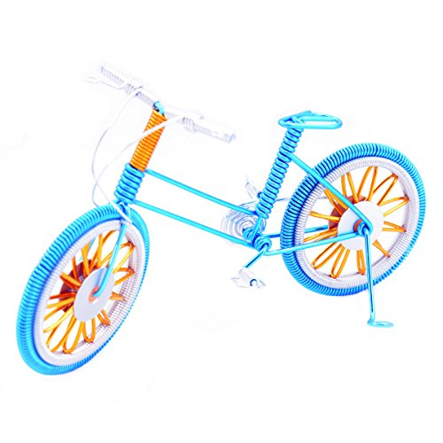 """Model,7"""" Bicycle Handmade Artwork Home Office Desktop Decoration Collectible Vehicles(Blue) ()"""