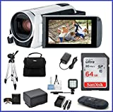 Canon VIXIA HF R800 Full HD Camcorder [White] Ultimate Bundle, includes: 64GB SDXC Memory Card, LED Light, Tripod, Spare Battery and more...