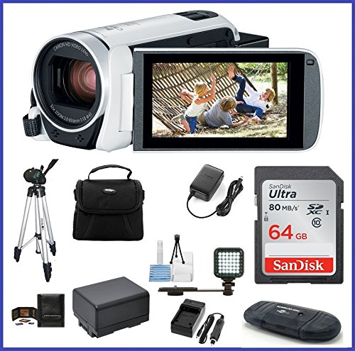 Canon VIXIA HF R800 Full HD Camcorder [White] Ultimate Bundle, includes: 64GB SDXC Memory Card, LED Light, Tripod, Spare Battery and more... by Canon